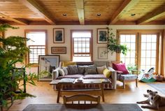 love this family room! - Kate & Nick's Back-to-the-Land Vermont Home (and Yurt!)