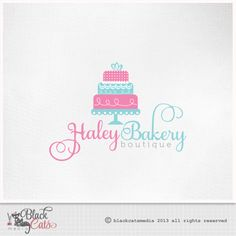 Cake logo  wedding Design Eps file PNG Psd Png  and Jpg Watermark Etsy Banner avatar and matching business card - Custom Premade Affordable