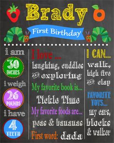 Very Hungry Caterpillar First Birthday Chalkboard Poster on Etsy, $15.00
