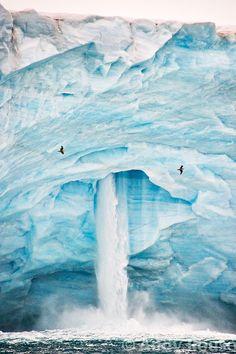 Iceberg waterfall, Svalbard, Norway