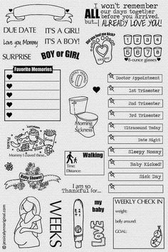 Calendar Planner Clear Rubber Stamp Set 35 Stamps by JLMould