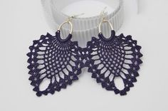 Crochet earrings - Large crochet earrings - Crochet earring jewelry - Dark violet- Textil jewelry -  This pair is crocheted with 100% cotton yarn, so