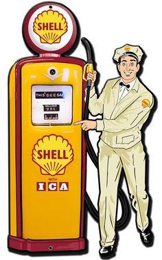 Shell Gas Pump Attendant Replica Sign 30 x 18 USA Made Powder Coated Steel Vintage Style Retro Gas Oil Garage Art Wall Decor by HomeDecorGarageArt on Etsy Vintage Advertisements, Vintage Ads, Vintage Posters, Vintage Style, Old Gas Pumps, Vintage Gas Pumps, Gas Station Attendant, Shell Gas Station, Garage Workshop