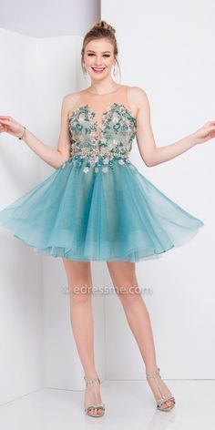 Terani Couture Plunging Illusion Sweetheart Floral Fit and Flare Homecoming Dress   http://shopstyle.it/l/fkMc