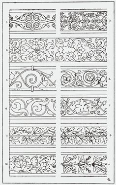 """From, """"A Handbook of Ornament"""". 1898 by Franz Sales Meyer.Great for borders on quilts. Illuminated Letters, Illuminated Manuscript, Pattern Art, Pattern Design, Pattern Ideas, Ornament Drawing, Leather Pattern, Border Design, Pyrography"""