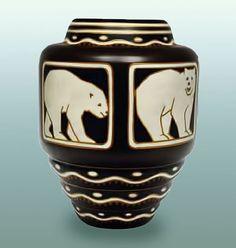 Design by Jan Wind for Charles Catteau, Polar Bear Vase, 1926