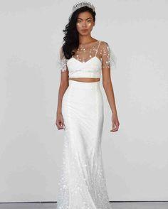 Rime Arodaky Fall 2017 Wedding Dress Collection | Martha Stewart Weddings – Short-sleeve crop top and A-line wedding skirt