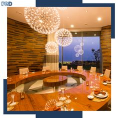 A dining area conceptualized to accord a sense of privacy while continuing a relationship with the skyline that is shared by the house as a whole. Snowflake inspired chandeliers and a large circular table add to the extravagance. Interior Architecture, Interior Design, Circular Table, Urban Planning, Dining Area, Chandeliers, Skyline, Relationship, Ceiling Lights