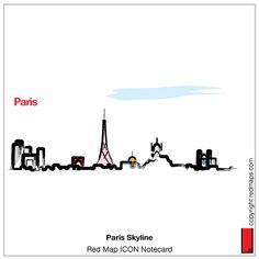 Paris Skyline ICON Notecard