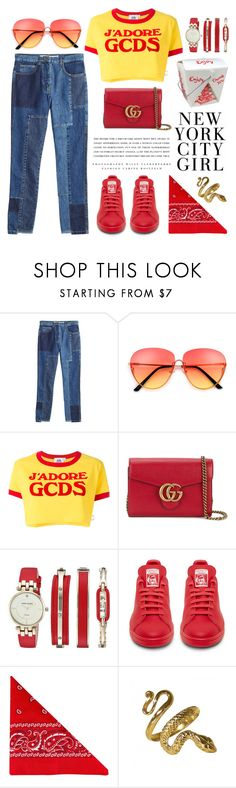 """""""your eyes light up 'cause you best believe, that i got something up my sleeve"""" by transitionmetals ❤ liked on Polyvore featuring McQ by Alexander McQueen, GCDS, Gucci, Anne Klein, Kerr®, NLY Accessories, StreetStyle, yellow, red and Blue"""