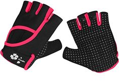Woman Lycra Half Finger Girl Short Fingerless Gloves for OUTDOOR Cycling Motorcycle Skate Skateboard Roller Skating Running Exercise INDOOR Yoga Gym Fitness Body Building Training Black Pink ML >>> Click image for more details.