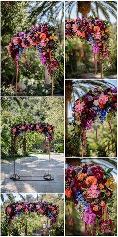 Modern bohemian wedding at the iconic Houdini Estate in Los Angeles, California. Jewel Tone Wedding, Purple Wedding, Jewel Tone Colors, Jewel Tones, Wedding Flower Arrangements, Wedding Flowers, Wedding Art, Dream Wedding, Wedding Ideas