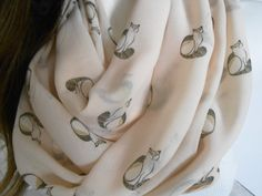 Infinty Loop Scarf, scarves,butterflies, Cat, spring, women's accessories, fashion, patterned cats, cream scarf, ivory scarf, powder color