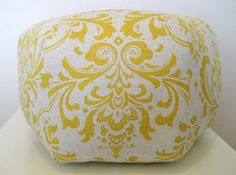 18 Ottoman Pouf Floor Pillow Yellow Natural Damask by aletafae, $80.00