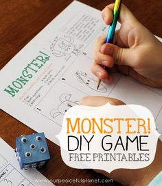 is a fun Halloween game you can quickly make using our free printables, a wood block and some wiggle eyes. Entertaining for adults and children! Fun Halloween Games, Halloween Crafts, Halloween Party, Halloween Ideas, Monster Games, Monster Party, Diy Games, Free Games, Diy Home Crafts