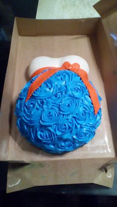 I made this pregnant belly cake for someone 12/15 who was having a baby boy....