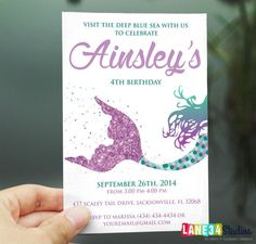Mermaid party invitation under the sea invite mermaid party glitter siren mermaid under the sea birthday invitation printable diy no filmwisefo