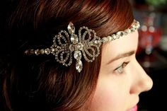 Vintage Inspired Forehead band with art deco style side detail - The Dietrich. £180.00