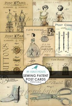 Sewing, Patent, Junk Journal, Post Card, Printable Ephemera, Postcard, Vintage, Corset, Scrapbook, Collage Sheet, Printable, Paper, Download