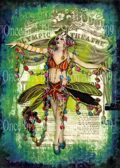 Showgirl Vamp  Digital Altered Art Collage  by LisasMenagerie, $6.99
