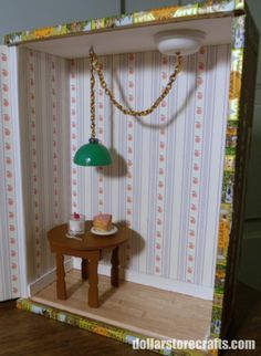 2 great ideas - 1. use cigar boxes to make a dollhouse room & then instructions on how to make this cute dollhouse lamp w/swag chain