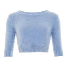 Isobel Fluffy Jumper ($53) ❤ liked on Polyvore featuring tops, sweaters, blue jumper, jumper top, blue top, blue sweater and jumpers sweaters