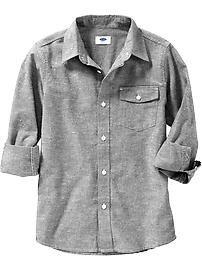 Boys Textured Chambray Shirts