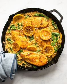 Easy Skillet Meals, Skillet Chicken, Easy Meals, Skillet Recipes, Blue Jean Chef, Small Pasta, Spinach And Cheese, Chef Recipes, Lemon Recipes