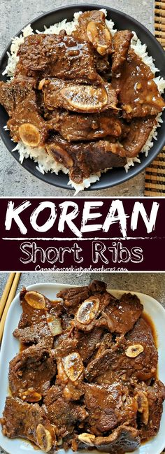 These Korean Beef Short Ribs are tender and sweet. And can be made in a dutch oven in under 30 minutes. #Korean #Beef #Short #Ribs #Recipe #Instantpot #slowcooker #recipes Lamb Recipes, Asian Recipes, Low Carb Recipes, Dinner Recipes, Budget Recipes, Whole30 Recipes, Steak Recipes, Dinner Ideas, Healthy Recipes