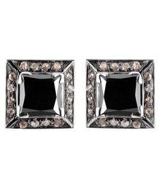 PRINCESS CUT BLACK DIAMOND SOLITAIRE STUDS WITH DIAMOND ACCENTS Black Diamond Earrings, Princess Cut, Colored Diamonds, Studs, Gemstones, Shopping, Gems, Stud Earring, Jewels