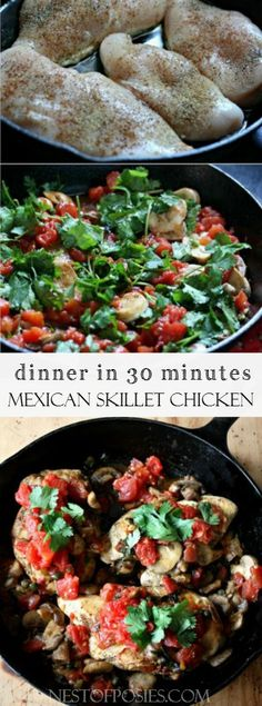 Mexican Skillet Chicken. A healthy and delicious dinner made in 30 minutes from @Nest of Posies
