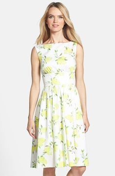 kate spade new york 'lyric' lemon print stretch cotton fit & flare capri collection summer dress available at #Nordstrom