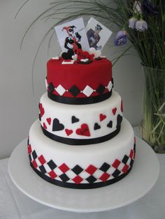 Harlequin (Harley Quinn) themed wedding cake for a comic-con loving couple. Homemade By Hollie.