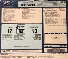 2004 Ford Thunderbird window sticker: $42,640 USD. Includes $2,500 Removable Top. Concept Board, Ford Thunderbird, Red Accents, Window Stickers, Top, Crop Shirt, Shirts