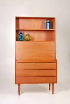 Mid Century Danish Modern Teak Secretary Desk with by MotleyLA