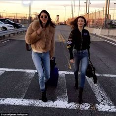 We're coming! Among the first to arrive for the flight were Kendall Jenner, 21, and Bella Hadid, 20, who have been invited to join the official Angels for the runway show