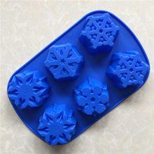 6 even big snowflake silicone mold christmas snowflake silicone soap mold(China)