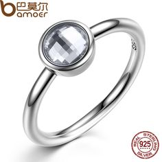 BAMOER Elegant Glass 925 Sterling Silver Rings Poetic Droplet Clear CZ Finger Ring for Women Fashion Wedding Jewelry PA7186 #Affiliate
