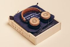 Headphones handmade from whiskey barrels might be a gift to keep for yourself this season or the man in your life #packaging PD