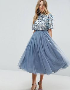 ASOS High Neck Embellished Crop Top Tulle Midi Dress - Amaliah - ASOS High Neck Embellished Crop Top Tulle Midi Dress – Amaliah Best Picture For outfits elegante - Dance Outfits, Dance Dresses, Skirt Outfits, Dress Skirt, Dress Up, Crop Dress, Tulle Dress, Tulle Skirts, Party Outfits