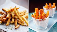 Paleo Swap: Ditch the potatoes and opt for carrot fries instead - a smart way to feed French fry cravings while keeping calories in check. Simply slice carrots into sticks, toss with olive oil and seasonings and bake at 425 until crispy! #frenchfries #vegetarian #veggies #paleo #healthyrecipes #carrots #frenchfry