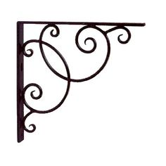 "More delicate in appearance, the Scroll Book Shelf Bracket is still a sturdy investment. Made of hand forged wrought iron with a black powder coat finish, this 10"" by 10"" set of two swirled shelf hand..."