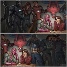Is this chaperoning?   If I were Scarlet Witch, I'd make out with Vision just to piss off everyone else.   Except Bucky because he'd be like O YEEAH YOU GO GURL GO GURL  and Steve is like HONEST TO GOD, THIS WORLD IS SH*T  And everyone whispers Language.   And Vision is like Wut is this that you are doing to my mouth??
