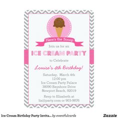 "#IceCream #BirthdayParty Invitation 5"" X 7"" Invitation Card"