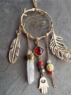 Couture Matte Gold Birds Nest Dreamcatcher by PurpleFinchStore, $96.00