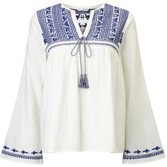 Miss Selfridge Embroidered Gypsy Blouse, White (€25) found on Polyvore featuring women's fashion, tops, blouses, white embroidered blouse, cotton blouse, white boho blouse, bohemian blouse and long sleeve tops