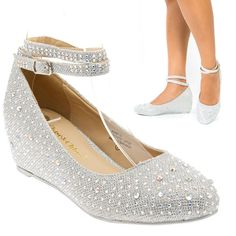 14e78d13e37 Silver Crystal Ankle Strap Mary Jane Low Wedge Heel Pump Bridal Wedding Shoes  US  ChaseChloe