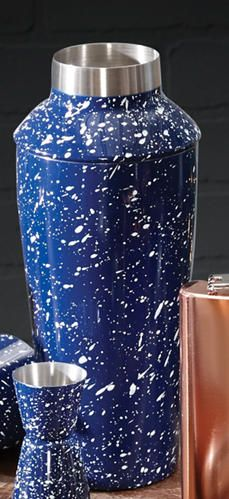 Our stainless steel campsite-ready cocktail set is finished in that classic blue and white speckled enamel. The double side jigger and shaker with built-in strainer is all you'll need for shaking up everything from riverside Sidecars to fireside Sazerac.    Enamel Cocktail Shaker/Jigger - Art Van Furniture