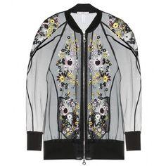 Erdem Dani Embroidered Silk-Blend Organza Bomber Jacket found on Polyvore