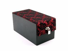 DevineToy Box-Wine Lace Overlay, sex toy storage
